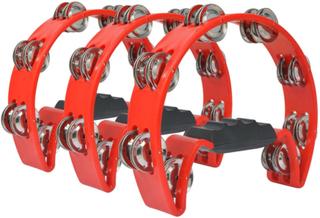 vidaXL tamburinsæt 3 stk. plastik rød