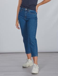 Grunt, Mom Straight Leg Croped Jeans, Blå, Jeans till Pige, 29