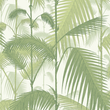 Palm Jungle tapetti vaaleanvihreä