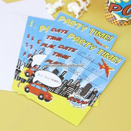 Pop Art Superhero Party inbjudningskort - 10 st