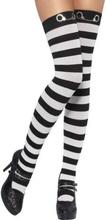 Lårhöga strumpor, svart och vit