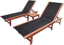 vidaXL Aurinkotuolit 2 kpl + pieni pöytä akaasiapuu ja textilene
