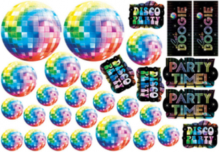 30 Disco-dekorationer i kartong One-size