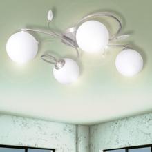 vidaXL Taklampa med transparenta akrylblad och glaskupor 4 G9-lampor