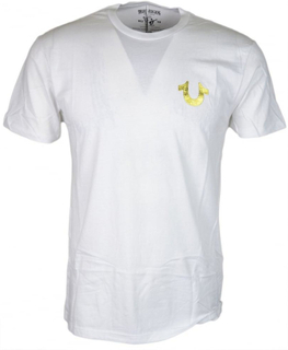 True Religion Md086c067f Metalic guld Buddha tryckt vit T-shirt
