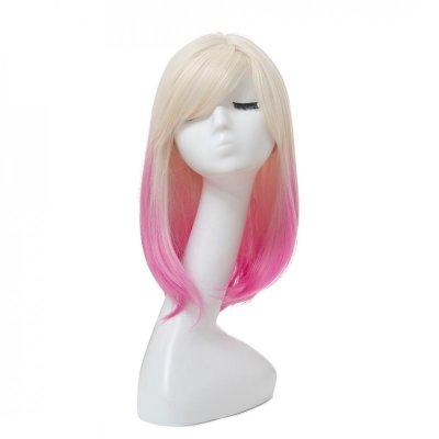 Syntetisk peruk, Blond/Rosa