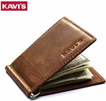 KAVIS Slim Genuine Leather Money Clip Brand Men Women Bifold Male Purse Billfold Wallet Female Clamp for Money Bills Cilp