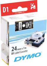 DYMO D1 merkkausteippi 24 mm musta teippi/valk teksti 7 m