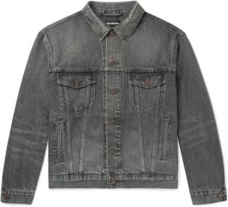 Logo-print Denim Jacket - Gray