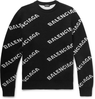 Logo-intarsia Virgin Wool-blend Sweater - Black