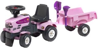 FALK Åkbil traktor Princess Trac med släp rosa