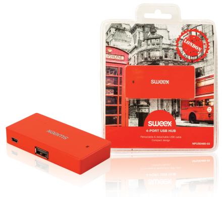 4-porttinen USB-jakaja London punainen