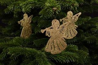 juletræspynt - Engle med guldglimmer måler 10x9 cm.