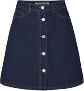 NOISY MAY Button Denim Skirt Kvinder Blå