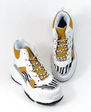 Duffy Chunky Sneakers med högt skaft, zebra/gul/vit