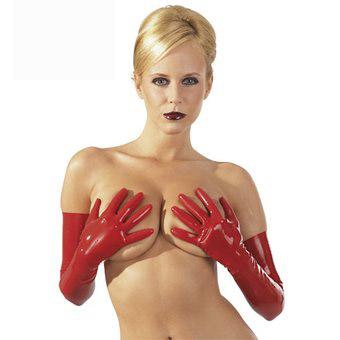 Latexhandskar, röda