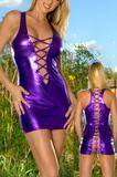 Sexig miniklänning, lila-metalic