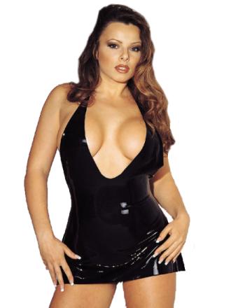 Urringad svart latexklänning