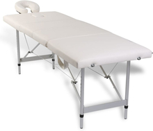 vidaXL Hopfällbar massagebänk med 4 sektioner aluminiumram gräddvit