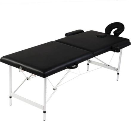 vidaXL Hopfällbar massagebänk med 2 sektioner aluminium svart