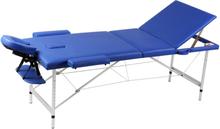 vidaXL Hopfällbar 3-sektions massagebänk med aluminium ram blå