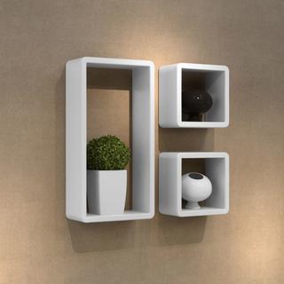 vidaXL Hylde White Cube 3-Pack