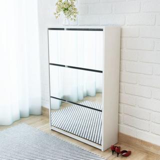 vidaXL Skoskåp med 3 lådor och spegel vit 63x17x102,5 cm