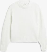 Balloon sleeve knit sweater - White