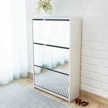 vidaXL Kenkäkaappi 3 kerrosta ja peilit Valkoinen 63x17x102.5 cm
