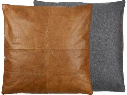 Södahl Lodge leather Pute 60 x 60 cm svart/tobacco