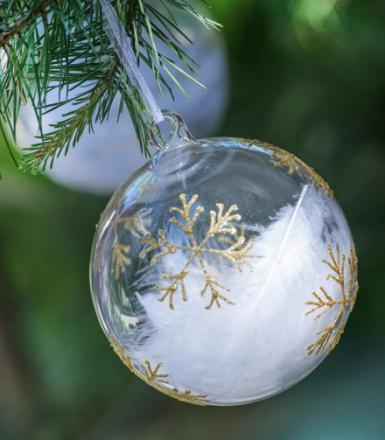 Magnor Himmel På Jord Julekule Gull m / Små Stjerner 80 mm Magnor