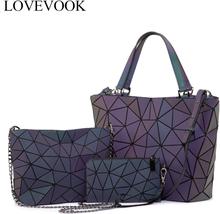 Lovevook bag set women shoulder bags luxury designer folding bag crossbody bag female purse and wallet for ladies luminous color