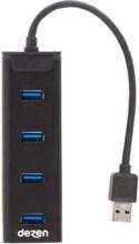 Premium Rectangle Aluminium USB Hub - USB 3.0 - 4 porte - Svart