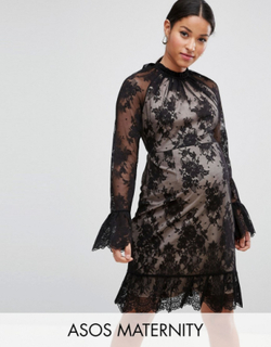 ASOS Maternity High Neck Open Back Lace Mini Dress-Black