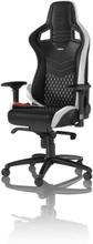 EPIC Real Leather - Black / White Gaming Stol - Svart / Vit - Läder - Upp till 120 kg