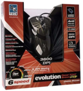 A4Tech EVO XGame Laser Oscar X747 Brown Fire - Mouse - Laser - 7 knappar -