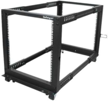 12U Adjustable Depth Open Frame 4 Post Server Rack w/ Casters Levelers and Cable Management Hooks