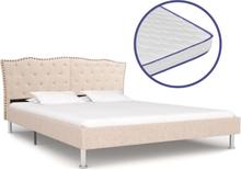 vidaXL Säng med memoryskummadrass beige tyg 160x200 cm