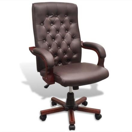 vidaXL Chesterfield kontorstol i kunstigt læder, brun