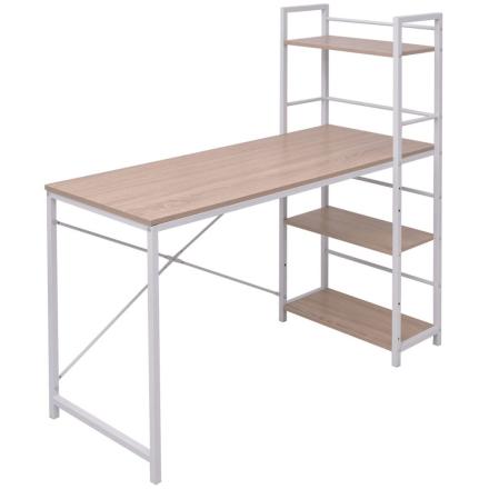 vidaXL skrivebord med boghylder i 4 niveauer eg