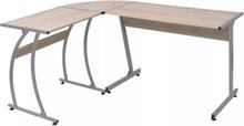 vidaXL hjørneskrivebord L-formet egetræ