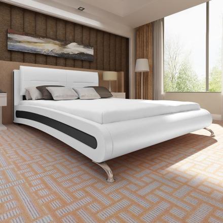 vidaXL Säng Dubai 180x200 cm vitt konstläder