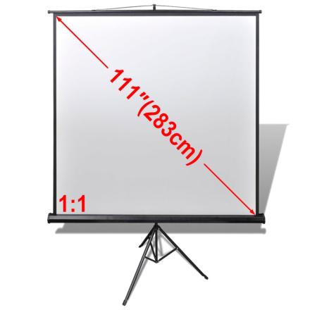 vidaXL Manuell projeksjonsskjerm med høydejusterbar fot 200 x 200 cm 1: 1