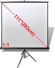 vidaXL Projeksjonsskjerm høydejusterbart stativ 200 x 200 cm 1: 1
