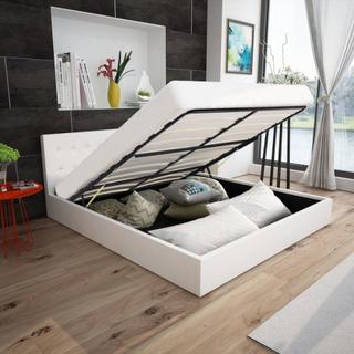vidaXL Hydraulisk seng m. opbevaringsplads 140 cm Hvid kunstlæder