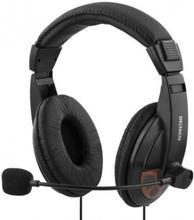 DELTACO headset, sluten, volymkontroll på kabeln, 2x3,5mm, 2m