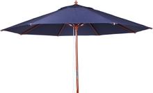 Lyxparasoll Blått tyg med nyatoh stång 3,5 m
