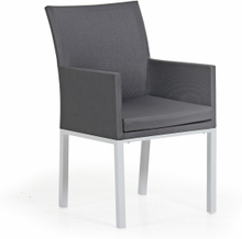 Milden karmstol Vit med grå textilene