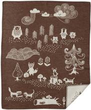 Klippan Little Bear bomullsfilt brun, Klippan Yllefabrik