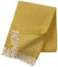 Leaf premium ullpläd yellow, Klippan Yllefabrik